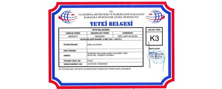 k3 yetki belgesi